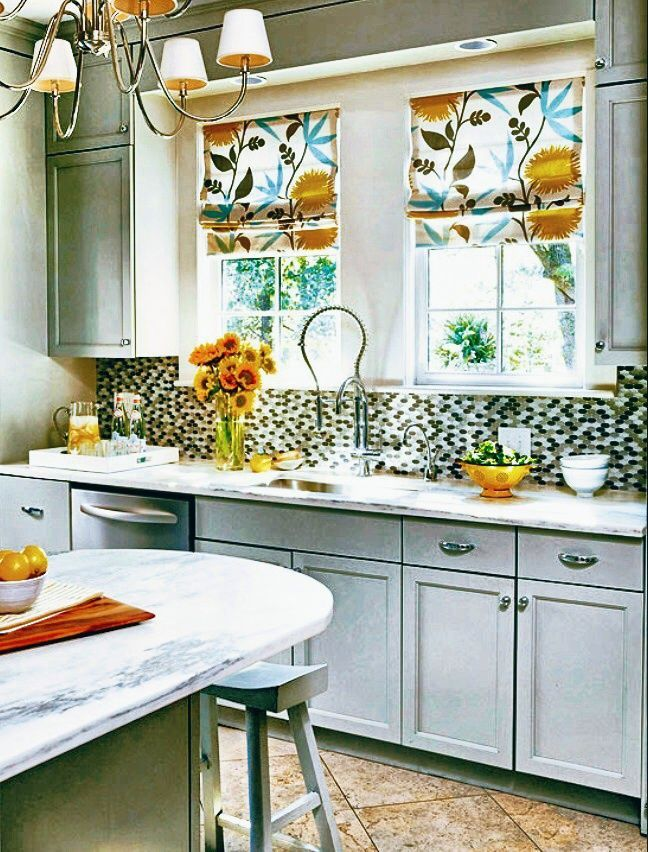 blue yellow and white floral printed roman shades add a pop of color to this modern grey white on kitchen ideas yellow and grey id=20265