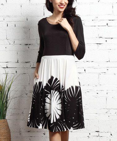 Look at this #zulilyfind! White & Black Floral Fit & Flare Pocket Dress #zulilyfinds
