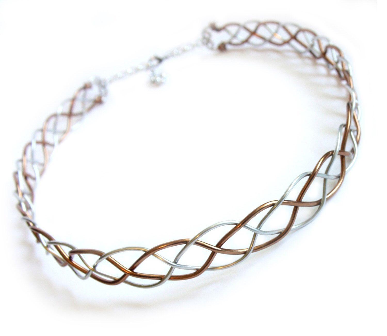 Celtic Braid Headband Circlet - Two Tone Silver and Bronze Aluminum ...
