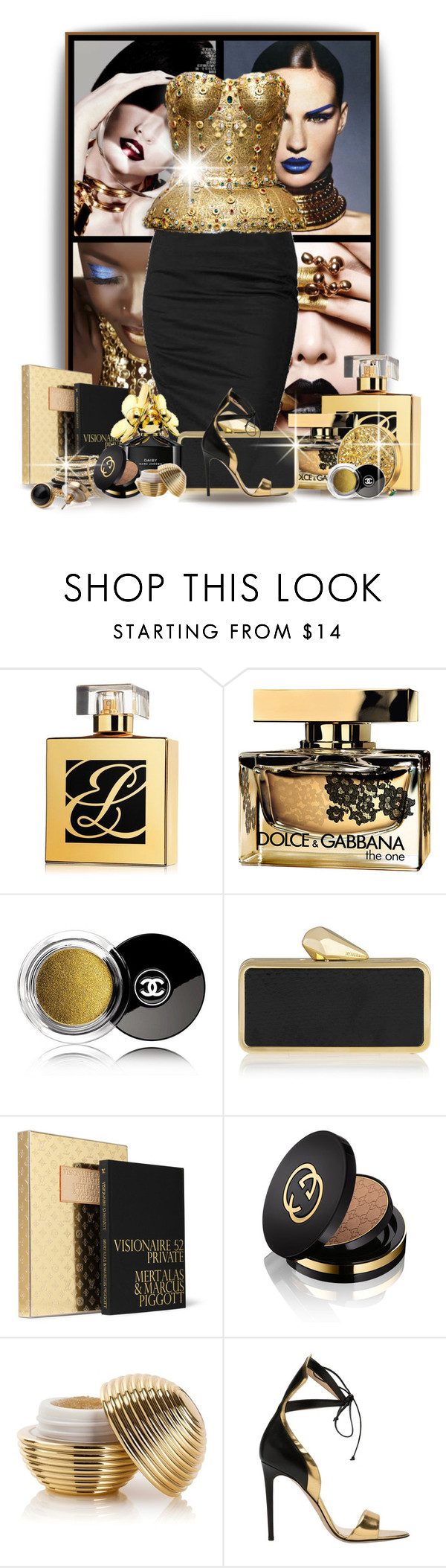 """""""Gold Rush"""" by jackie-eschbach ❤ liked on Polyvore featuring Rock & Republic, Dolce&Gabbana, Estée Lauder, Chanel, KOTUR, Louis Vuitton, Cara Accessories, ULTA, Gucci and Alejandro Ingelmo"""