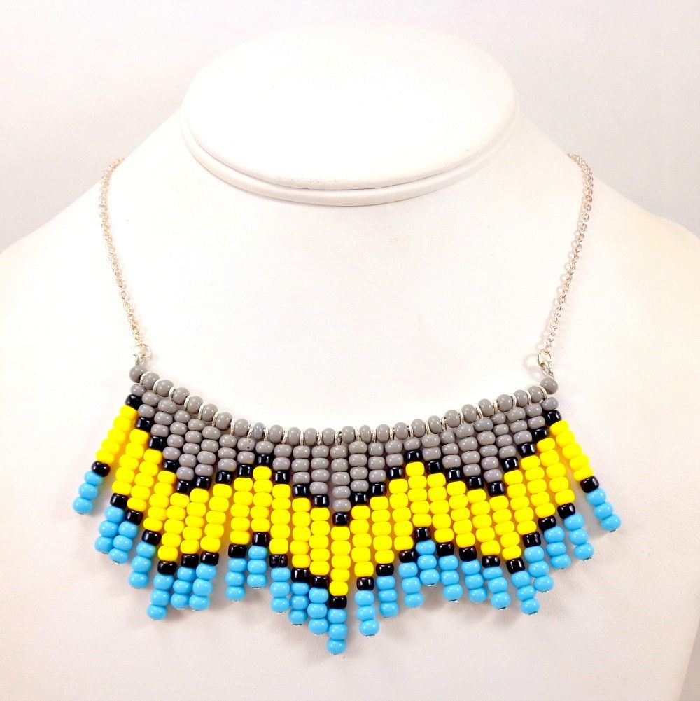 Statement necklace seed bead necklace chevron bib necklace