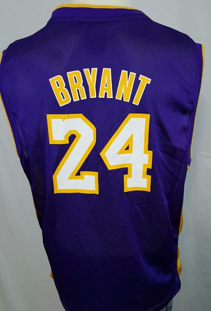 ae61e97fd05 Los Angeles Lakers Kobe Bryant 24 Purple Reebok NBA Basketball Jersey Youth  XL Reebok ...