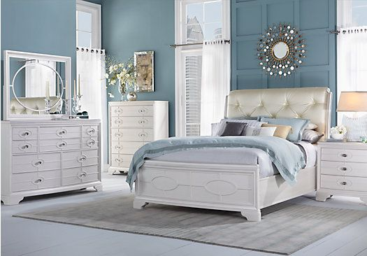 For A Cindy Crawford Home Westport Place Pearl White 5 Pc Kingupholstered Bedroom At Rooms To Go Find Sets That Will Look Great In Your
