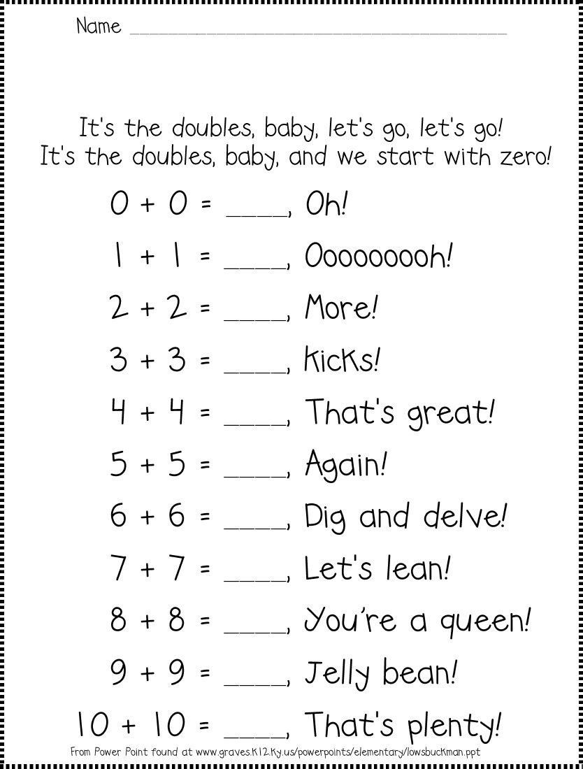 Saxon Math Kindergarten Worksheets Math Doubles Rap Math Facts Math Fact Worksheets Math School