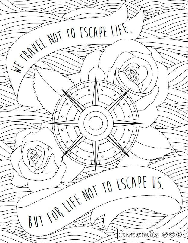 Travel Escape Adult Coloring Page Adult coloring Coloring books