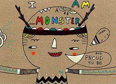 #doodle #illustration #handdrawn #whimsical #cardboard #postcard #monster