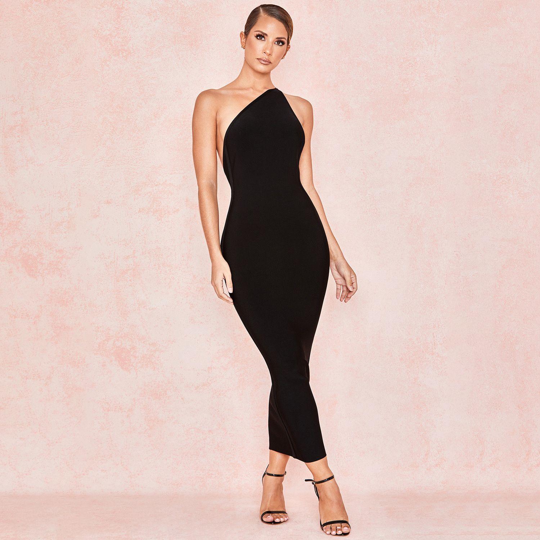 Good Quality Black One Shoulder Elastic Fabric Formal New Fashion 2019 Mid Length Bandage Dress Long Sleeve Turtleneck Dress Fashion Bandage Dress [ 1500 x 1500 Pixel ]