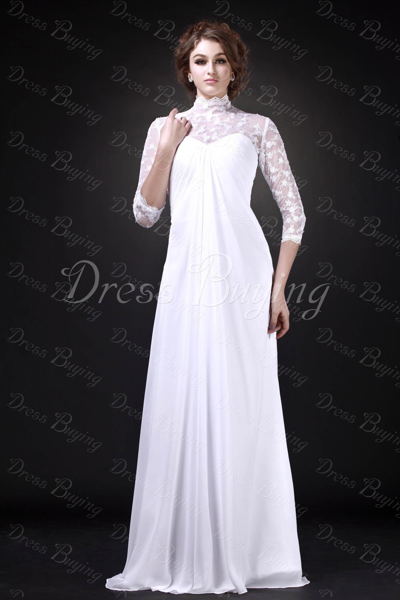 Fabulous high neck length sleeves floor length roxyus wedding