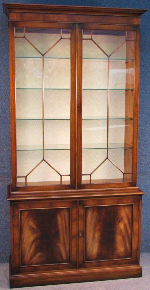 G T Rackstraw Georgian Style Mahogany Tall Display Cabinet On