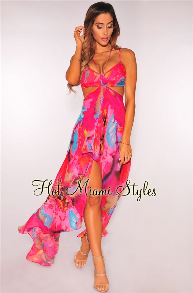 Womens Orchid Floral Dress Fuchsia Beach Holidays Dress