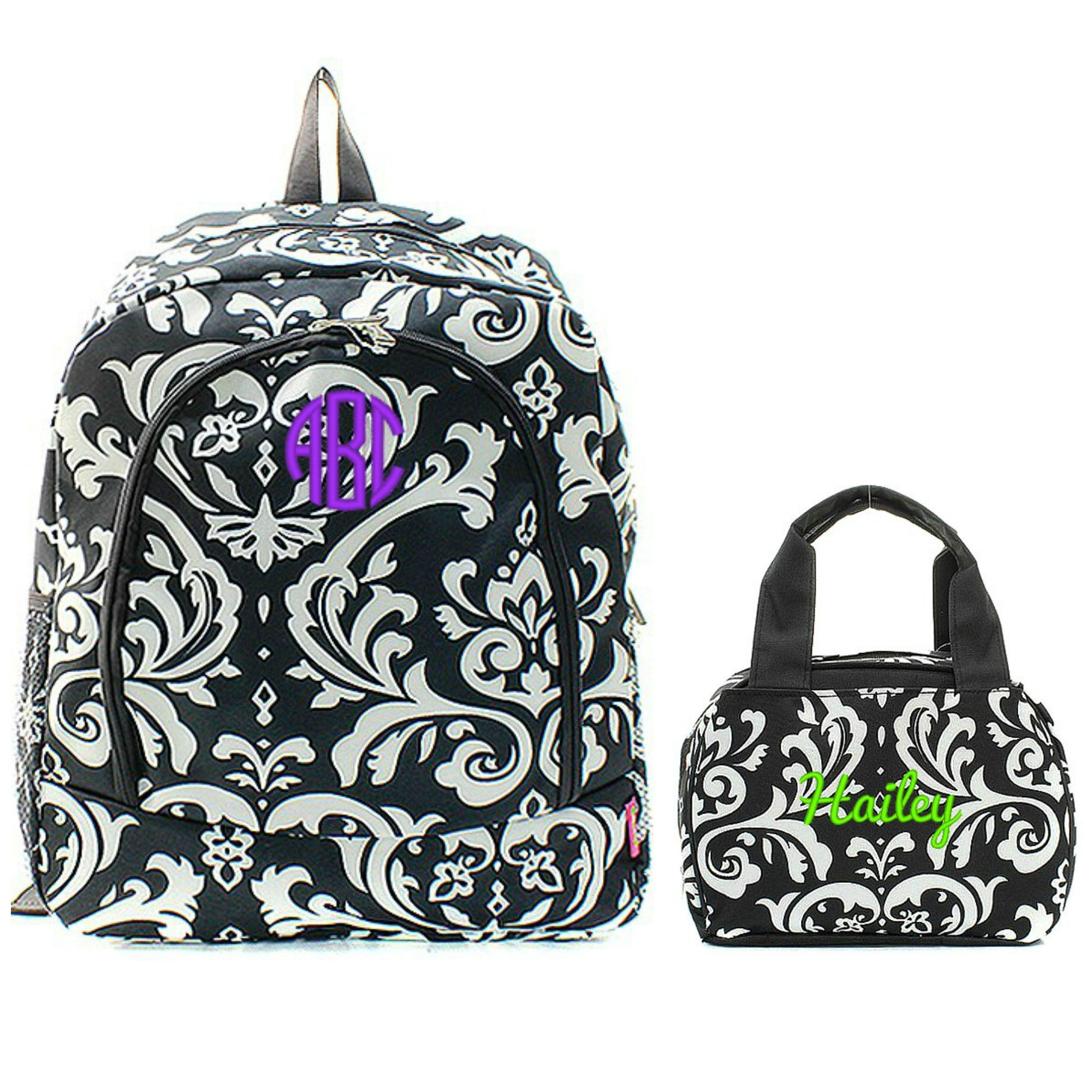 Matching Damask Black Personalized Kids Backpack & Lunch Bag Set ...