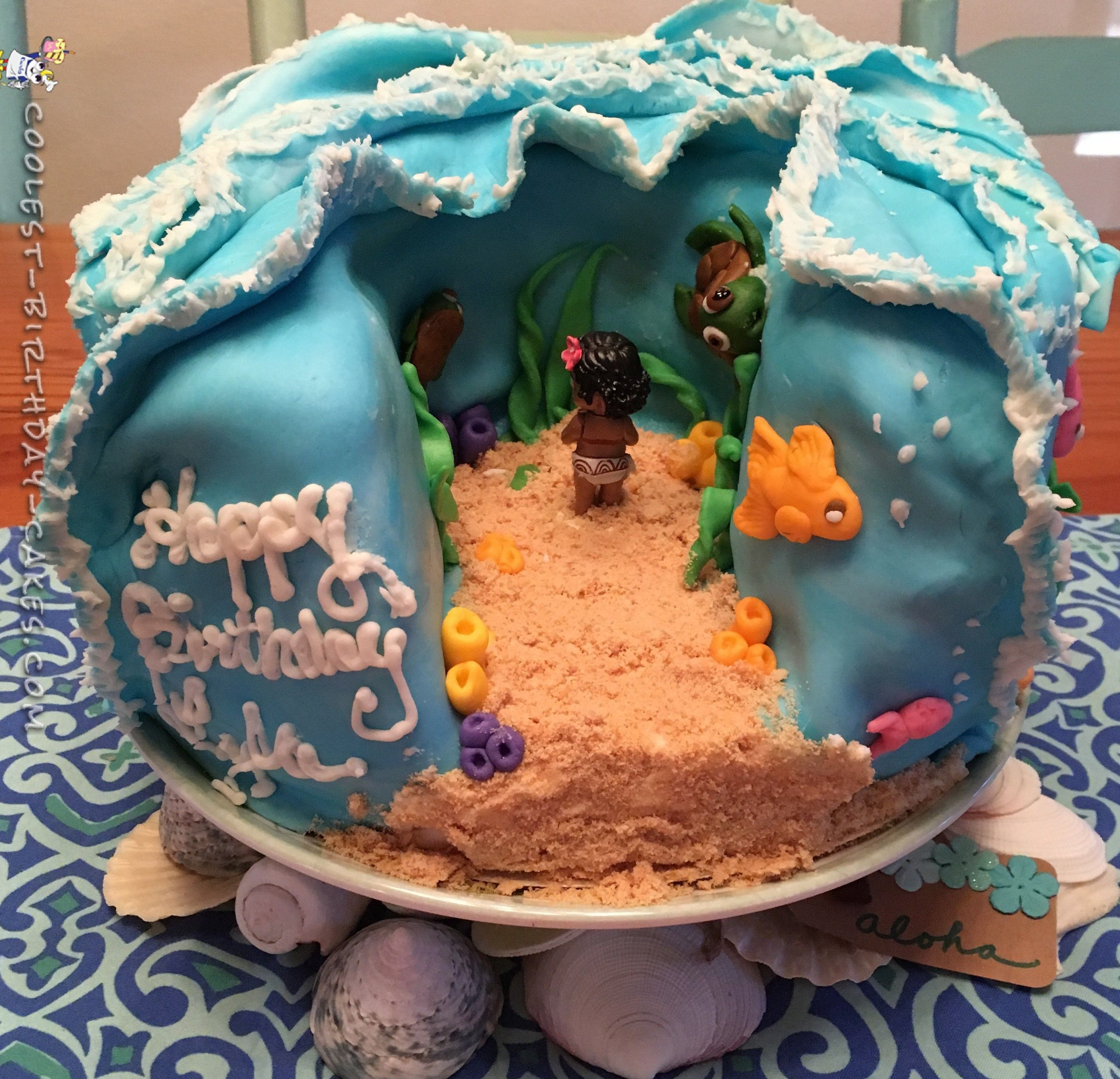 Disney Cake Decorating Ideas : Cool Homemade Moana Cake DIY Birthday, Homemade cakes ...