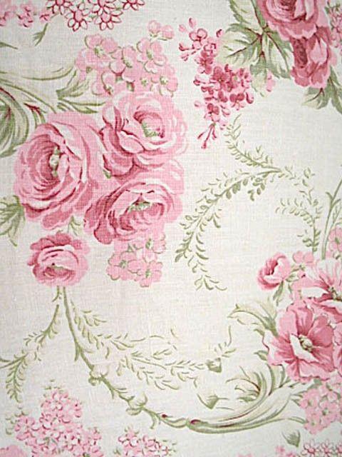 Floral Wallpaper Vintage Flowers Pink Shabby Chic Wallpaper Flower Wallpaper Pink Green Wallpaper