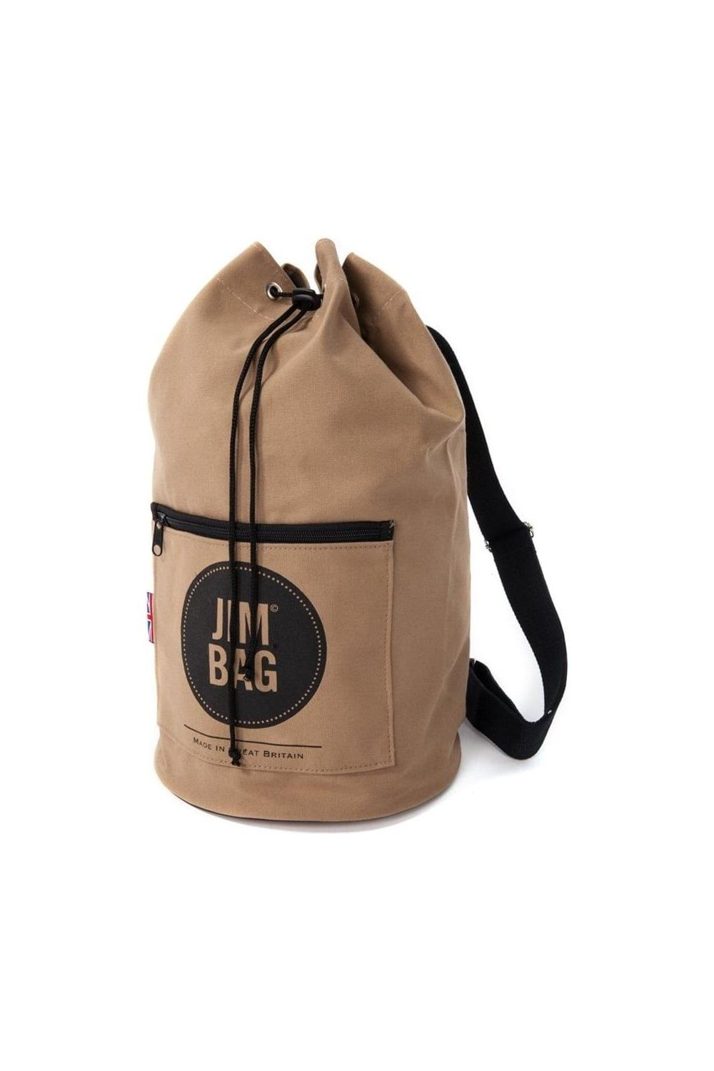 835e4e4dc0 The Jim Bag One Strap Duffle Bag in Beige Features Drawstring closure Zip  pocket on front Jim Bag logo print on front One strap Adjustable strap