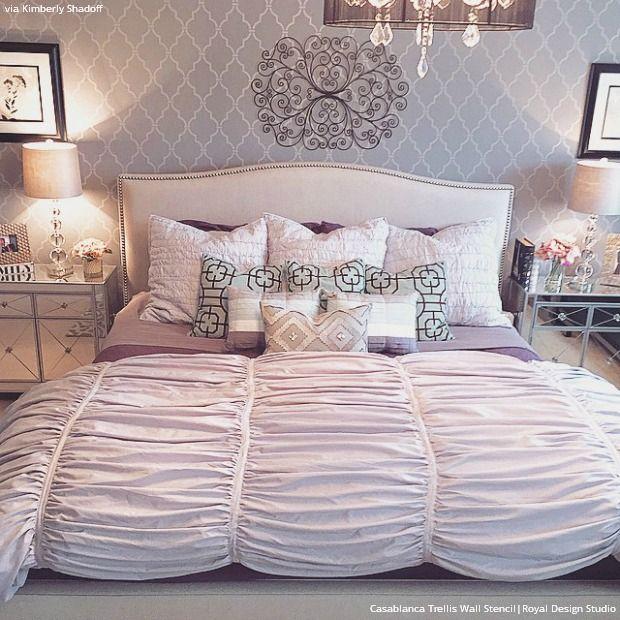 Wall Stencils Ideas for Dreamy Romantic Bedroom Decor | DIY Home ...
