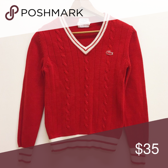 Vintage izod Lacoste cable knit red sweater | Cable knit, Cable ...
