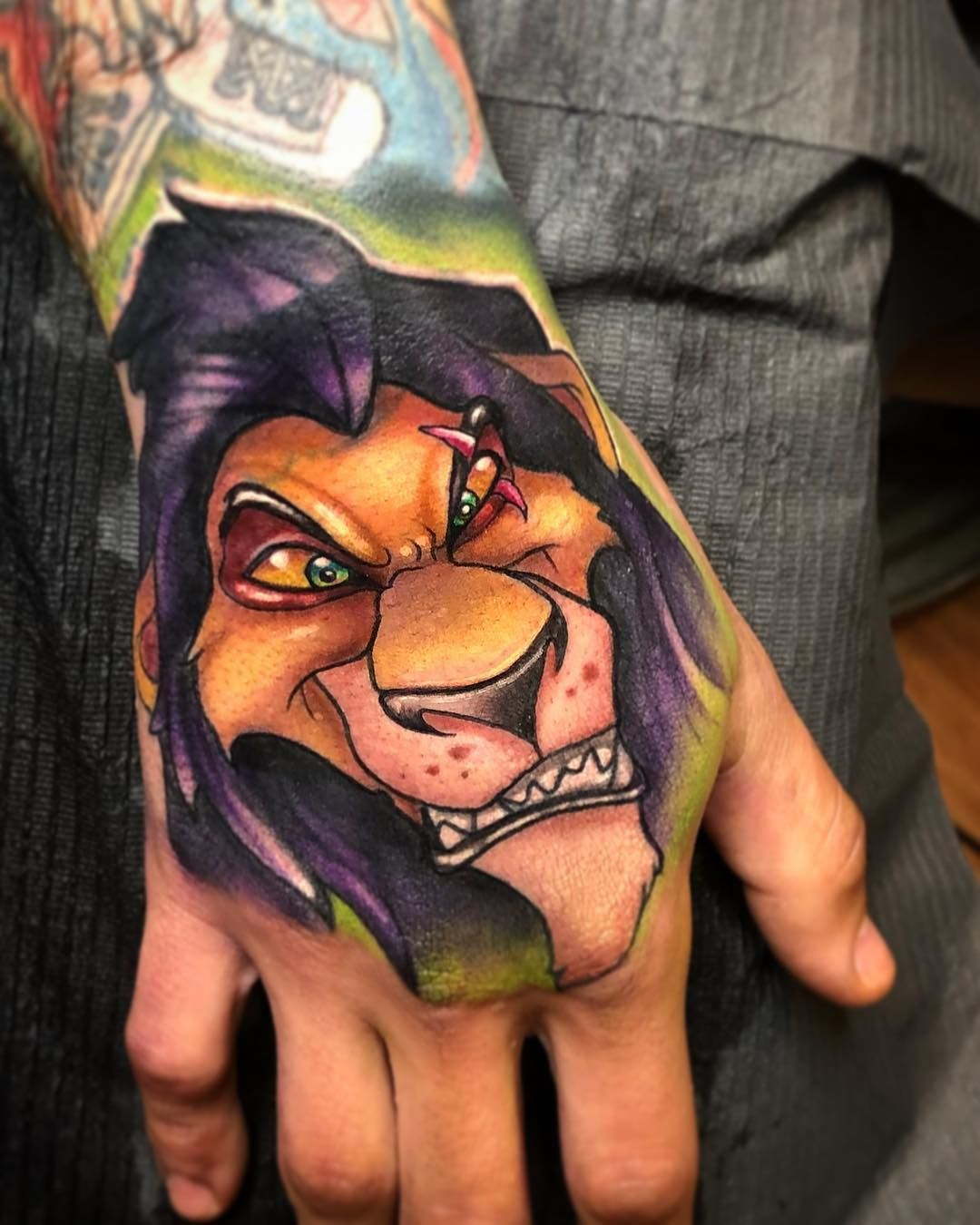 The Lion King Scar Disney Tattoo Josh Herman On Instagram Scar Hand Jobby Thanks Jorge Worldfamousink Protonpen Mdw Lion King Tattoo Tattoos Scar Tattoo