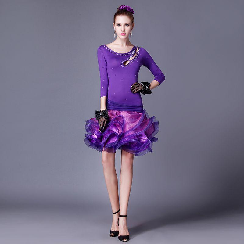 woman purple/red/black sleeveless Latin dance performance dress for ...