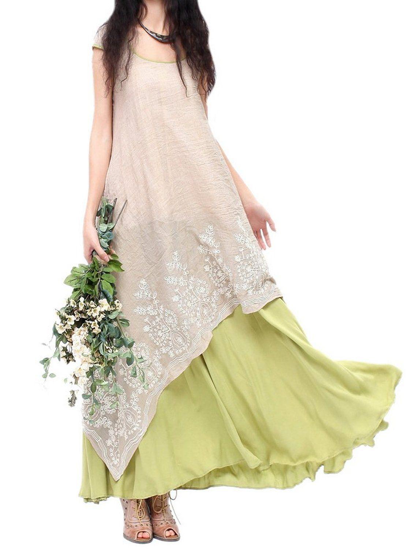 7b6a12ffbf3 Allbebe Allbebe Cotton Embroidery Fake Two piece Linen Folk Style Long Dress   Amazon Fashion