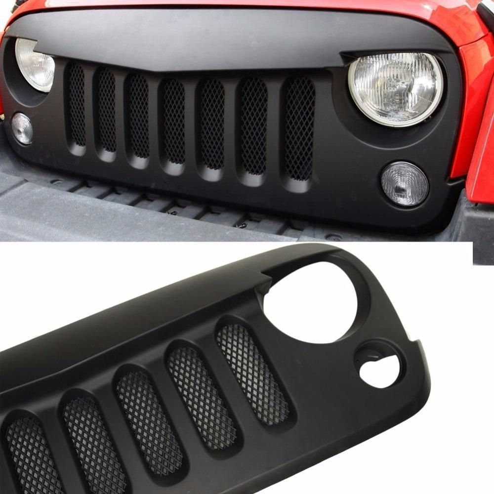 Black Front Grill Angry Bird With Mesh 2007 2017 Jeep Wrangler Jk Jeep Wrangler Jk Jeep Wrangler Jeep