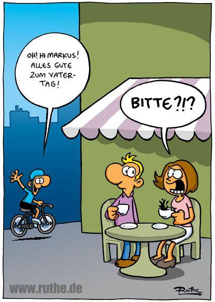vatertag mann frau kind radfahrer fahrrad cafe kaffee markise tisch ...