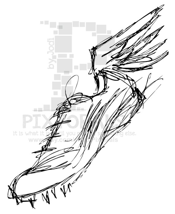 Track Winged Shoe Sketchy Eps File Vector And Runner