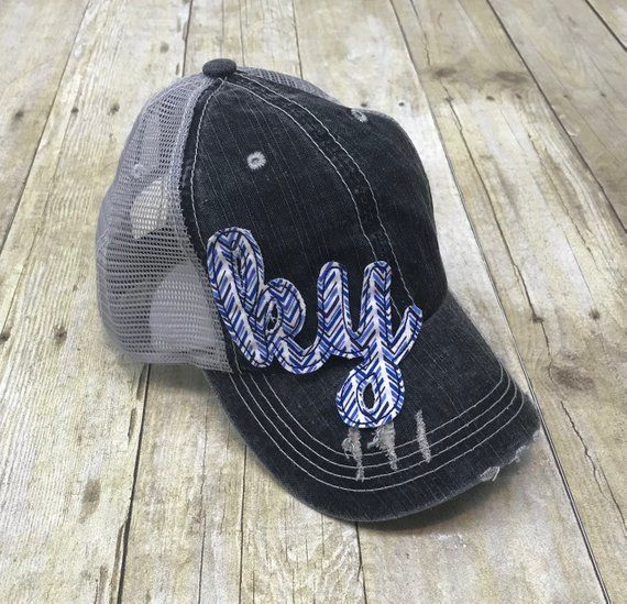 d48dbb10 Kentucky State Love Embroidered Blue and White Arrows Raggy Patch  Distressed Black and Grey Trucker