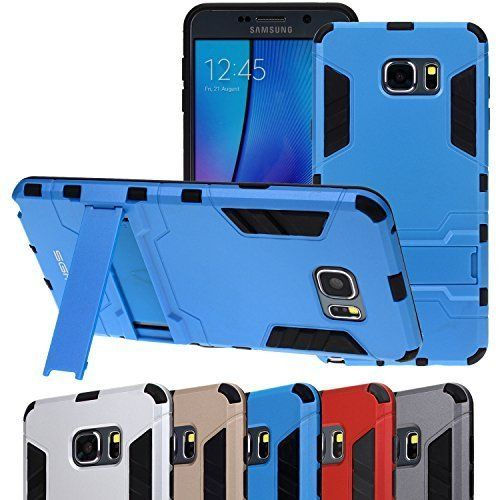 Note 5 case, Note 5 Defender Case, SGM (TM) Premium Hybrid **Dual Layer** Armor Defender Case For Samsung Galaxy Note 5 With Kickstand (Blue). Combination of TPU and Polycarbonate for dual protection from drops and scratches. Galaxy Note 5 Defender Case Provides ultimate protection from scratches and impact. Precisely cut to preserve full use of volume buttons, charger, camera, microphone, headphone jack, and all other ports. Give your phone a customized look while adding protection....