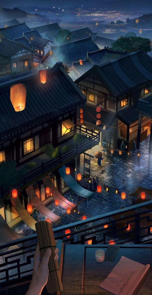 Night Street Wallpaper Anime Scenery Wallpaper Scenery Wallpaper Beautiful Wallpapers