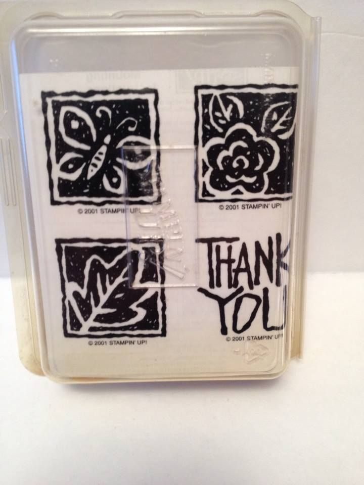 STAMPIN UP 2001 THANK YOU BLOCKS UNMOUNTED NEW set of 4 #StampinUp
