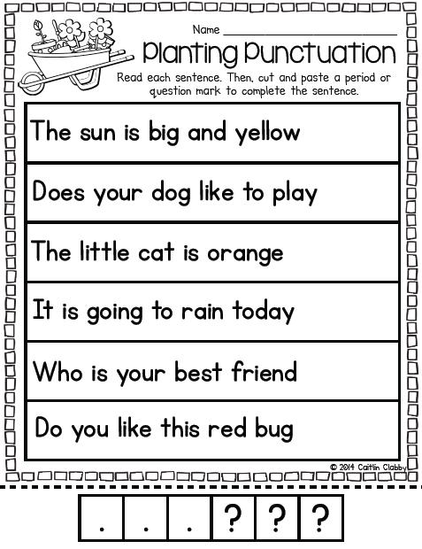 April Word Work Punctuation Activities Kindergarten Writing Elementary Writing