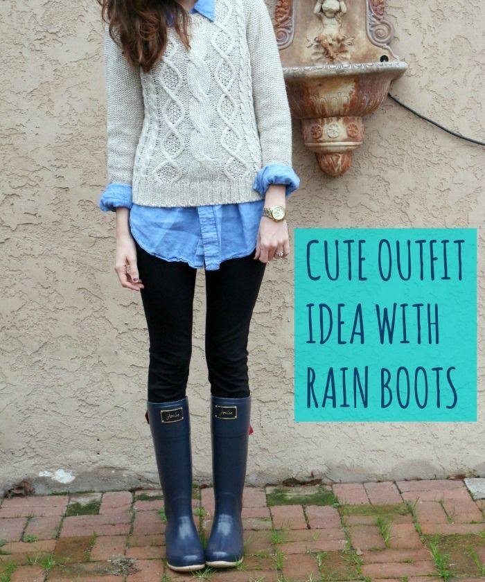 Cute outfit idea with rain boots from Joules! | cold weather ...