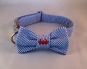Preppy Navy Crab Seersucker Bow Tie Dog Collar, Preppy Dog Bowtie Collar, Nautical Dog Bow Tie Collar,Crab, Cape Cod, Nantucket
