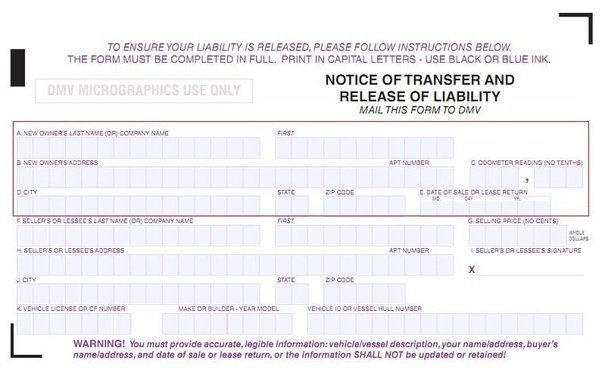 Notice Of Transfer And Release Of Liability Form template - liability release form