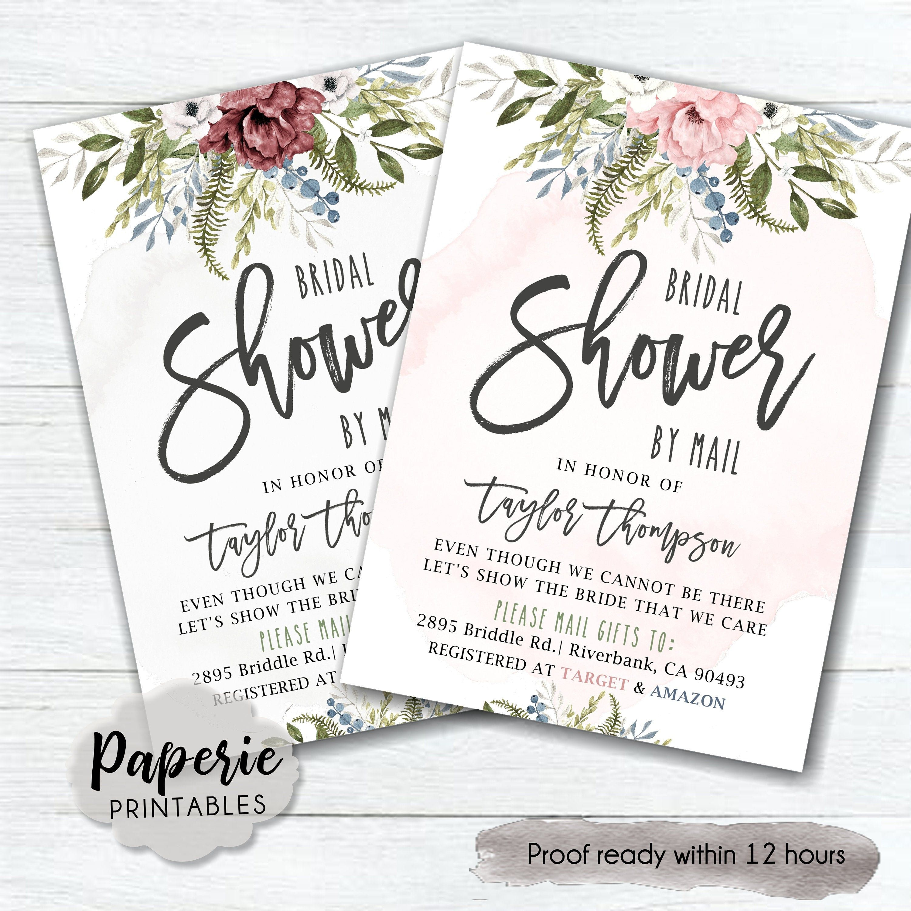Bridal Shower By Mail Invitation Long Distance Bridal Shower Etsy In 2020 Long Distance Baby Shower Invitations Invitations Baby Shower Invitations