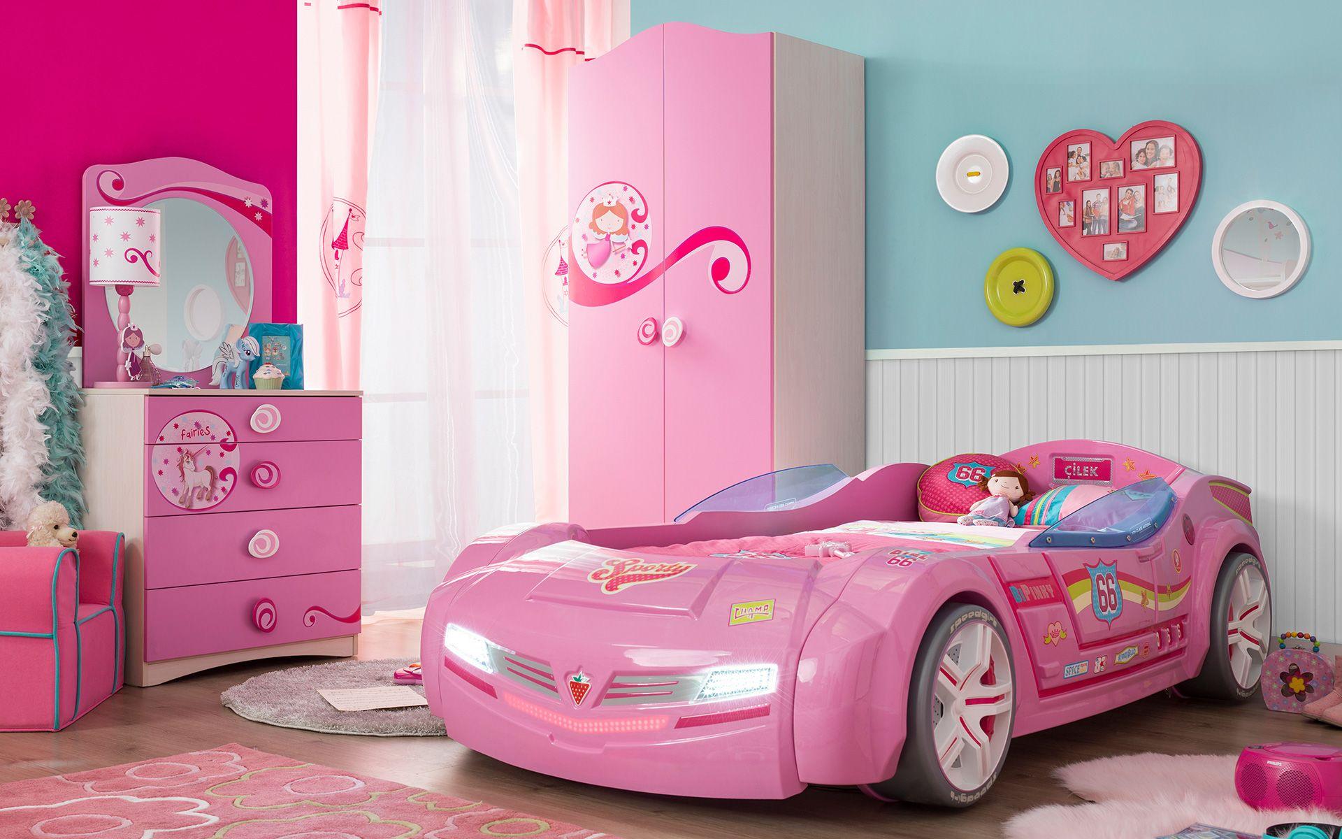 Pink Car Bed BiConcept Series Kız odaları, Kız çocuğu