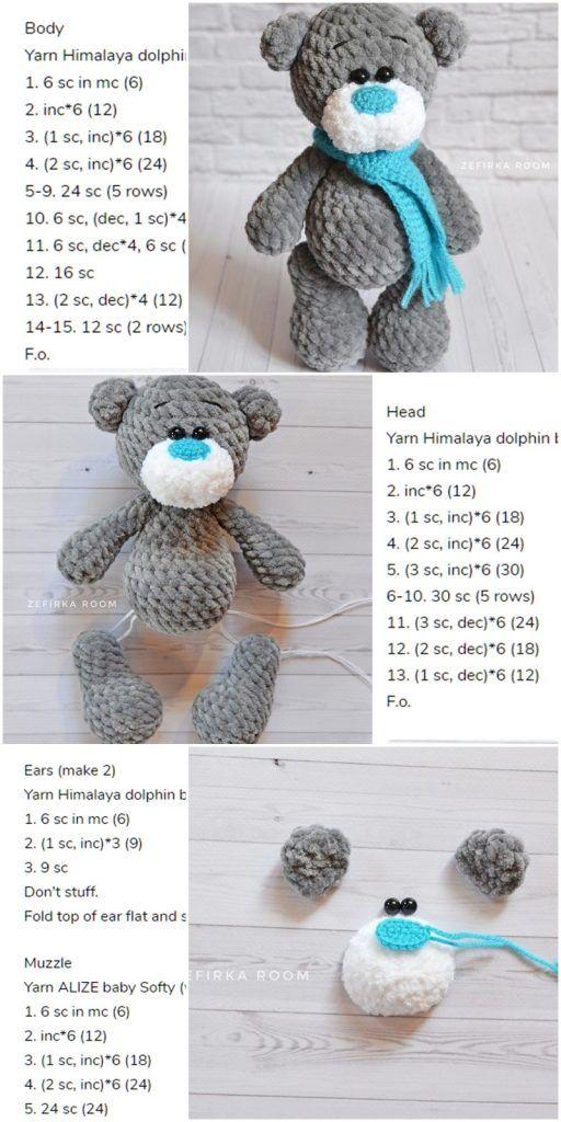 Amigurumi Crochet Plush Bear Free Pattern - Amigurumi Crochet #crochetbear