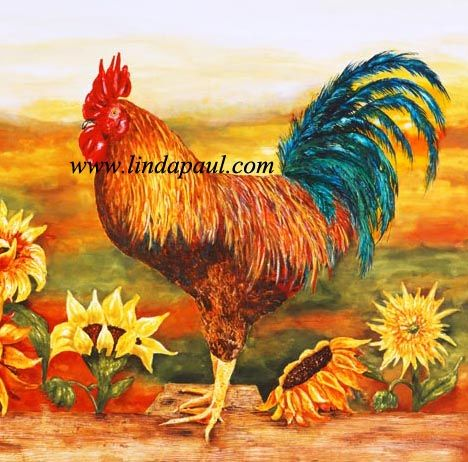 Rooster Backsplash | Rooster Kitchen Backsplash With Sunflowers   Tile  Murals Of Roosters