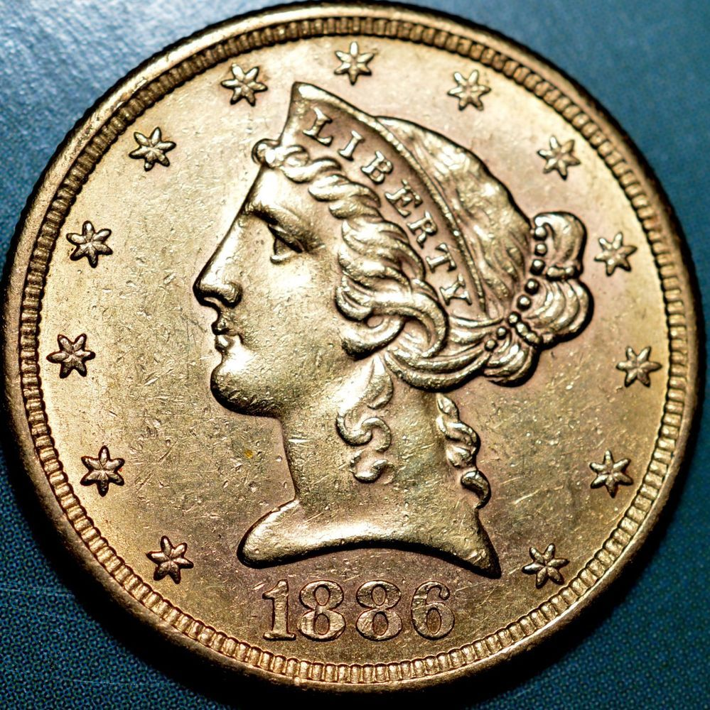 1886 S 5 Gold Liberty Head Half Eagle About Uncirculated Km 101