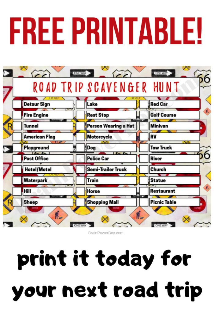 Free Printable Road Trip Scavenger Hunt Game Road trip