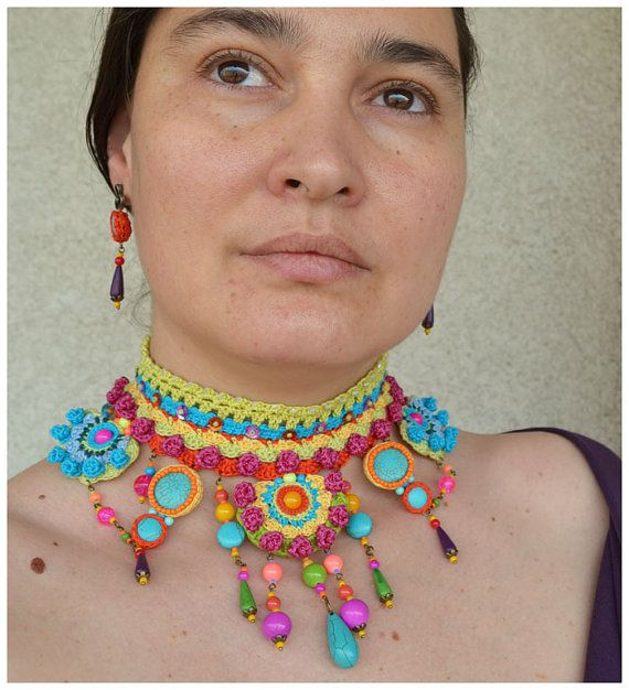 Statement tribal necklace, neon necklace, big choker, colorful ...