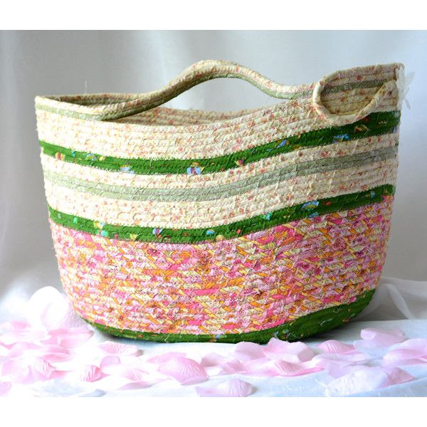 Shabby Chic Tote Bag, Handmade Moses Basket, Pink and Green Storage... ($100) via Polyvore featuring home, home improvement and storage & organization