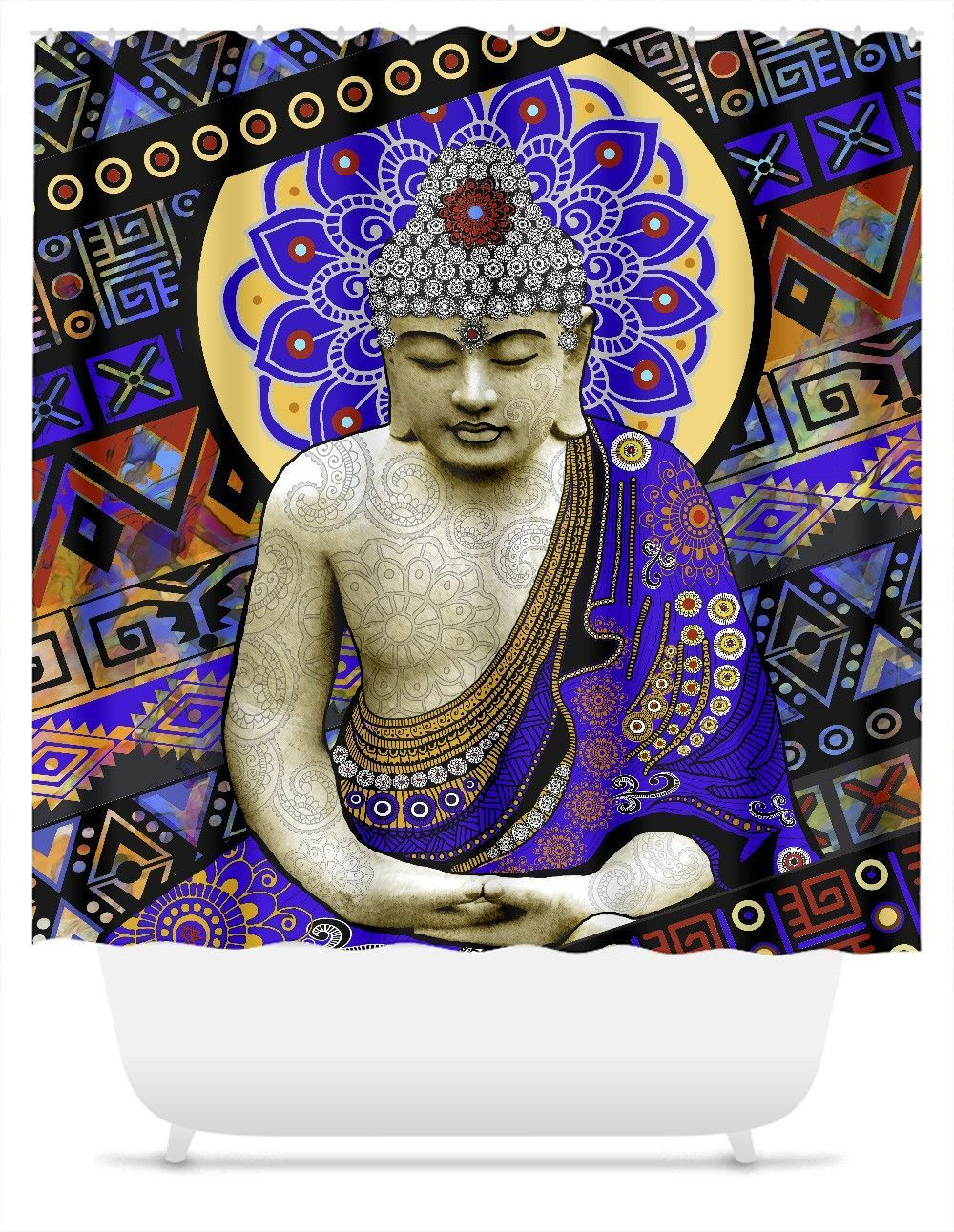Colorful Buddha Shower Curtain Rhythm Of My Mind Buddha Art