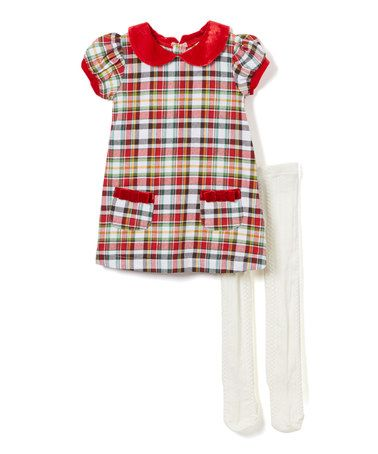 Look what I found on #zulily! Red & White Tartan Plaid Jumper & Tights - Infant & Toddler #zulilyfinds