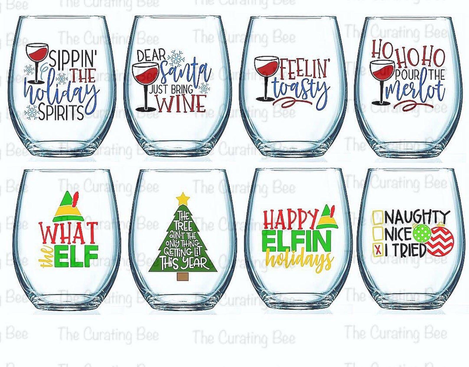 Set Of 4 Christmas Wine Glasses Christmas Wine Glasses Christmas Drinkware Christmas Barware Funny Christmas Wine Glasses Christmas Wine Glasses Christmas Wine Wine Glass Sayings