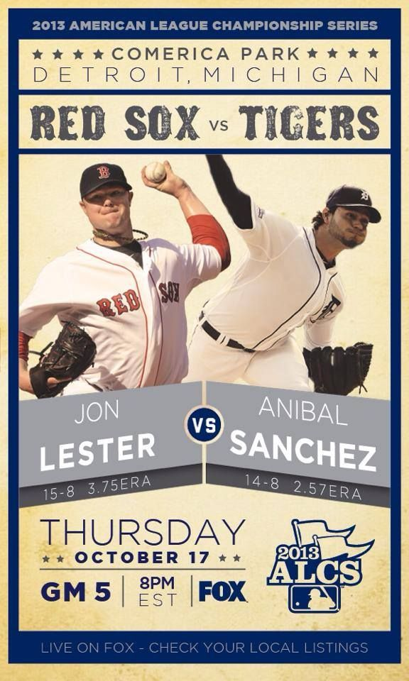 Red Sox Vs Tigers Alcs Game  Series Tied