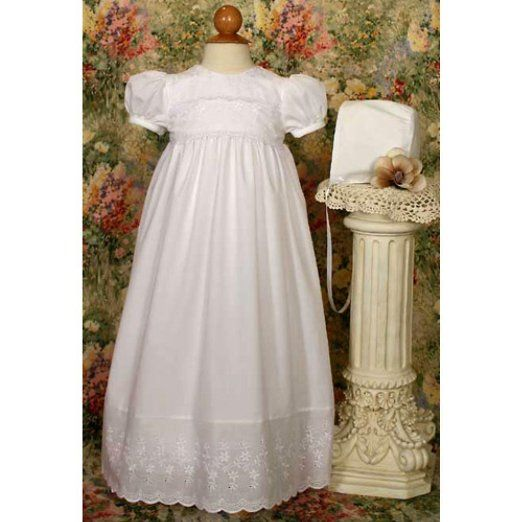 Amazon.com: Abbie Polycotton Christening Gown with Lace Boarder: Clothing