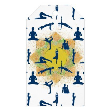 yoga poses with lotus flower drawing gift tags  zazzle