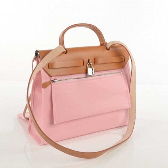 0a33718b30d0 HERMES Vache Hunter Toile Herbag Zip 31 PM Rose Sakura