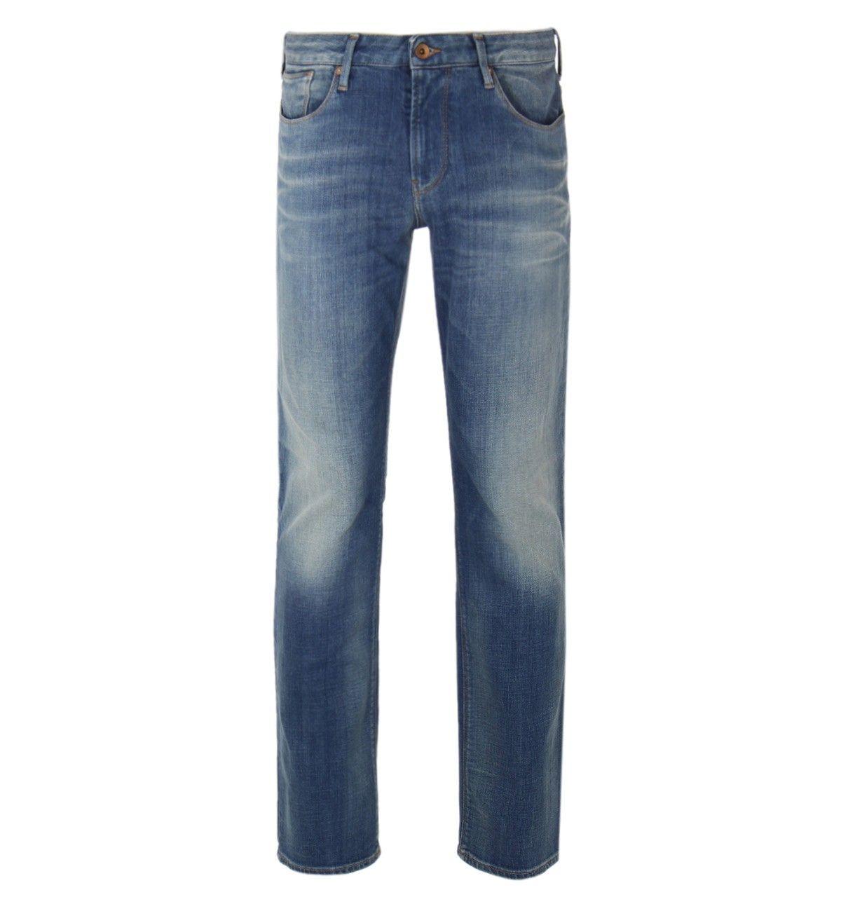 8db31bc8 Armani Jeans J06 Faded Light Blue Slim Fit Denim Jeans ...